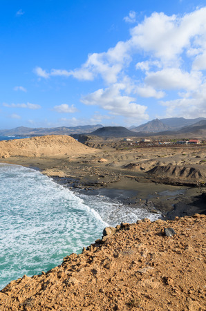 Beautiful bay and black sand volcanic beach in La Pared, Fuerteventura, Canary Islands, Spain