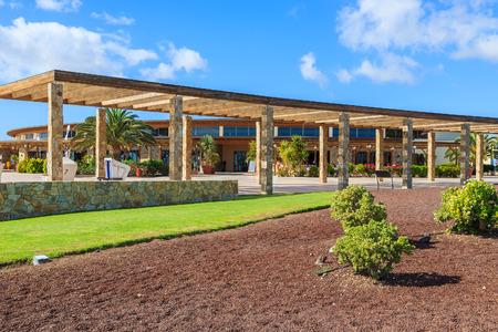 Coastal promenade green area in Las Playitas village and public beach, Fuerteventura, Canary Islands, Spain Stock Photo