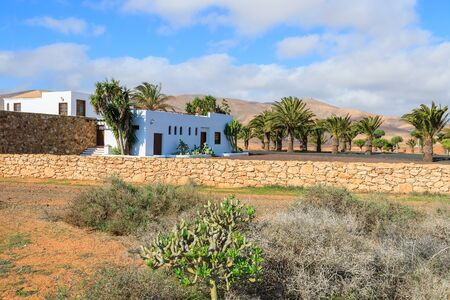 Traditional Canary style houses in Antigua windmill museum village, Fuerteventura, Canary Islands, Spain