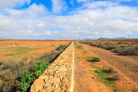 Rural mountain landscape of Fuerteventura island, Spain Stock Photo