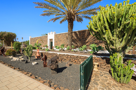 Canary style buildings and tropical plants in La Oliva village Heritage Art Center, Fuerteventura, Canary Islands, Spain Stock Photo