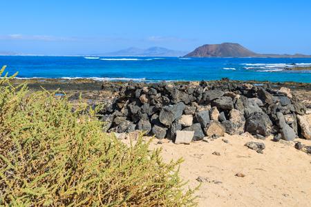 View of Lobos island from Beach in Corralejo, Fuerteventura, Canary Islands, Spain