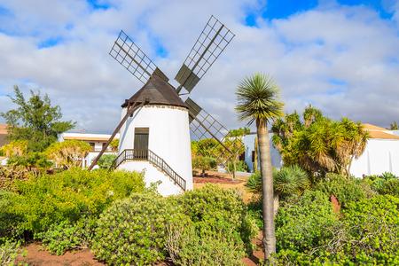 Old windmill in tropical gardens of Antigua village, Fuerteventura, Canary Islands, Spain
