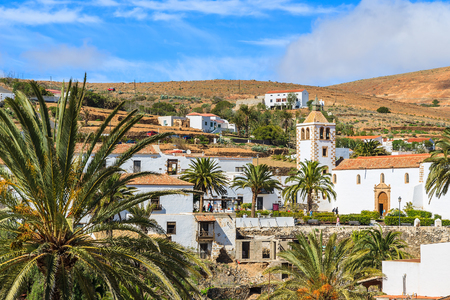 View of Betancuria village and famous cathedral Santa Maria, Fuerteventura, Canary Islands, Spain Stock Photo
