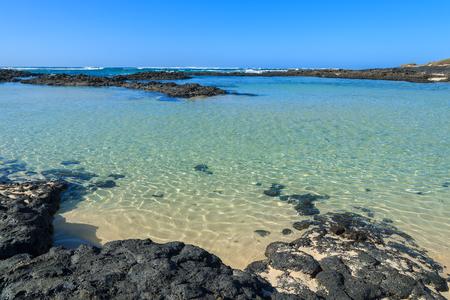 northern spain: El Cotillo beach lagoon in northern part of Fuerteventura, Canary Islands, Spain
