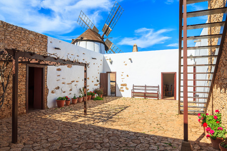 Courtyard of traditional old windmill in Tiscamanita village, Fuerteventura, Canary Islands, Spain