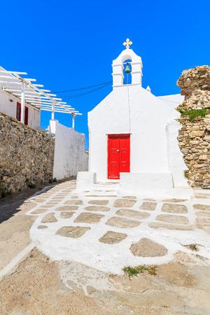 Typical Greek white church building in Mykonos town, Cyclades islands, Greece