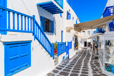 A view of whitewashed cycladic street in beautiful Mykonos town, Cyclades islands, Greece