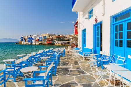 A view of restaurant in Little Venice part of Mykonos town, Mykonos island, Greece