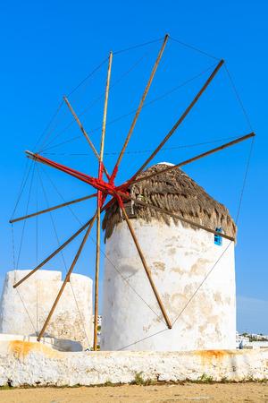 Traditional white windmill in Mykonos town, Mykonos island, Greece