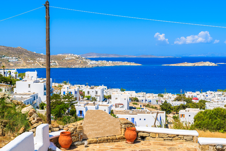 A view of Mykonos town and blue sea, Cyclades islands, Greece