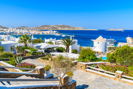Alleys in garden on coast of Mykonos island, Greece