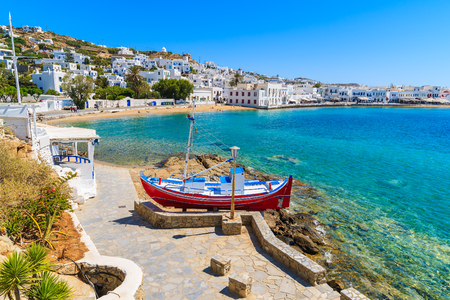 A view of fishing boat on coastal promenade in Mykonos town, Cyclades islands, Greece