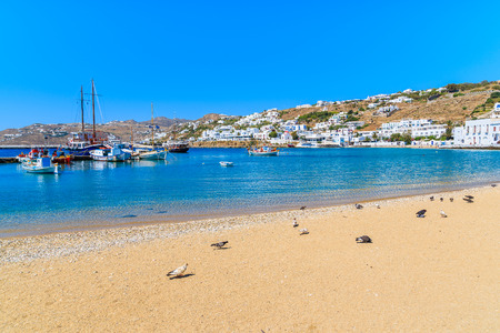 Sandy beach in Mykonos port, Cyclades islands, Greece Stock Photo