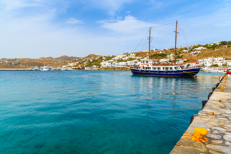 Sailing boat mooring in Mykonos port, Mykonos island, Greece