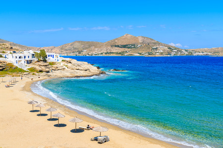 A view of beautiful bay with beach in Naoussa village, Paros island, Cyclades, Greece Imagens