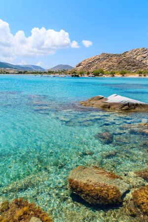 Crystal clear turquoise sea water of Kolymbithres beach, Paros island, Greece