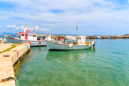 Traditional fishing boats in Ampelas port on Paros island, Greece