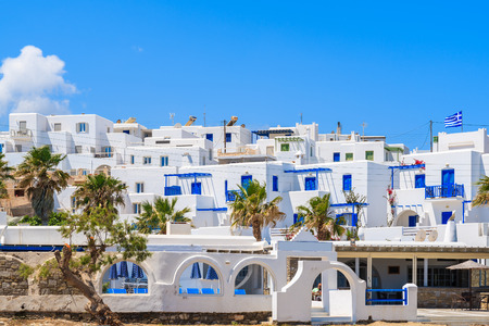 Traditional Greek holiday apartments in Naoussa town on Paros island, Greece