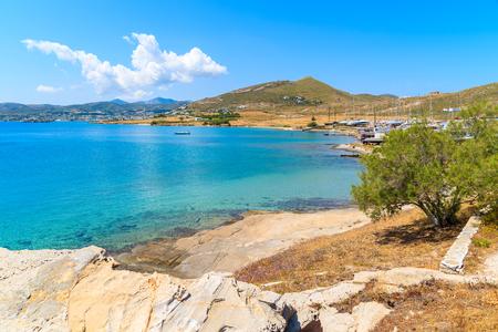 Beautiful coast of Paros island in Monastiri bay, Greece Stock Photo