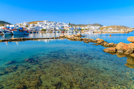 A view of Naoussa fishing port at sunset time, Paros island, Cyclades, Greece