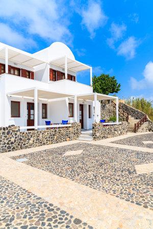 Traditional holiday apartments built in Greek style in Imerovigli village, Santorini island, Greece