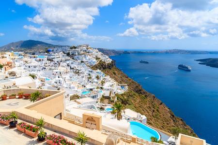 View of beautiful Firostefani village with typical Greek white architecture, Santorini island, Greece