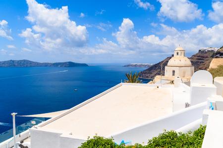 Church in beautiful Firostefani village and sea view, Santorini island, Greece