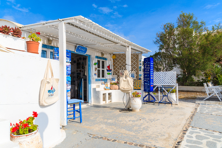 SANTORINI ISLAND, GREECE - MAY 24, 2016: shop with Greek souvenirs for tourists in Firostefani village on Santorini island, Greece. 報道画像