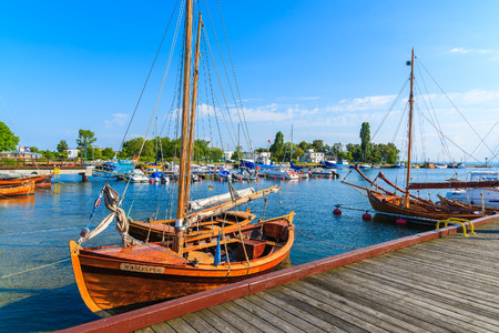 JASTARNIA PORT, POLAND - JUN 21, 2016: sailing boats anchoring in Jastarnia port on sunny summer day, Hel peninsula, Baltic Sea, Poland. Editorial