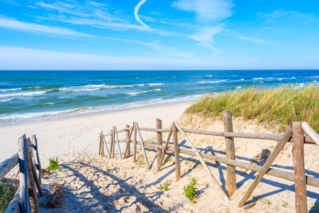 Path to beach in Bialogora village, Baltic Sea, Poland 免版税图像
