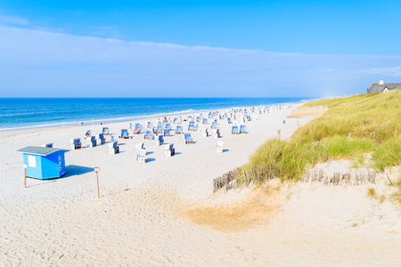 White sand beach with chairs in Kampen, Sylt island, Germany