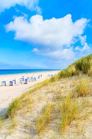 View of beach and sand dunes in Kampen village on Sylt island, Germany Stockfoto