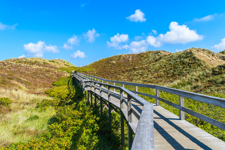 Wooden walkway to beach among sand dunes on Sylt island, Germany