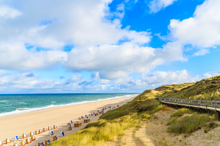 View of beach at sunrise in Wenningstedt village on Sylt island, North Sea, Germany Stock fotó