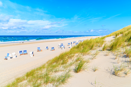 View of beautiful beach and sand dune in Kampen village, Sylt island, Germany