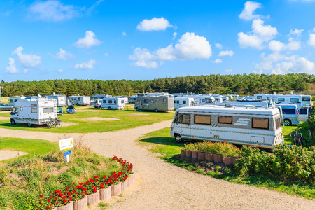 SYLT ISLAND, GERMANY - SEP 9, 2016: campers on green area of camping site on beautiful island of Sylt, Germany. Editorial