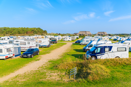 SYLT ISLAND, GERMANY - SEP 11, 2016: campers on green area of camping site on beautiful island of Sylt, Germany.