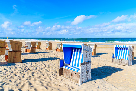 Chairs on beautiful beach in Wenningstedt village, Sylt island, Germany Stock Photo