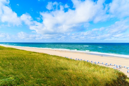 View of beach in Westerland village on Sylt island, North Sea, Germany