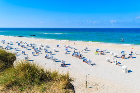 View of white sand Kampen beach from coastal cliff, Sylt island, Germany