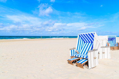Chairs on sandy beach in Kampen village, Sylt island, Germany
