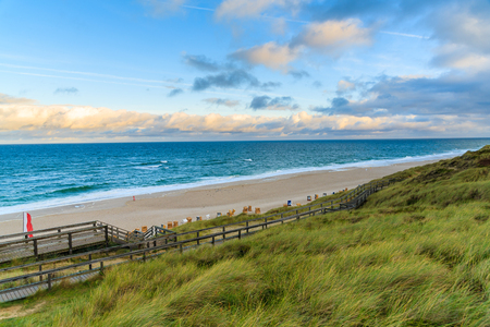 Wenningstedt beach at sunrise, North Sea, Sylt island, Germany Stock Photo