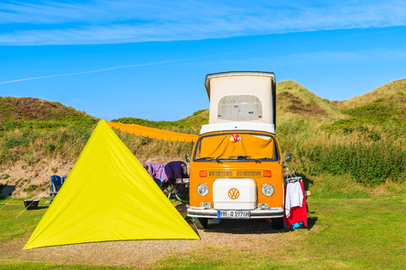 SYLT ISLAND GERMANY - SEP 10 2016 classic orange Volkswagen mini c&er and & Vw Camper Van Stock Photos. Royalty Free Business Images