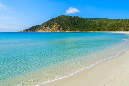 Idyllic paradise Cala Pira beach and azure sea water, Sardinia island, Italy