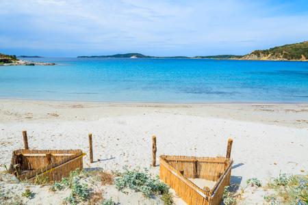 Empty idyllic beach at Punta Molentis on sunny summer day, Sardinia island, Italy