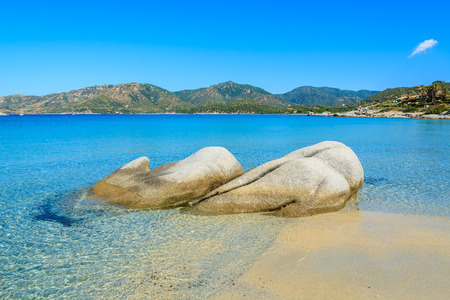 Spiaggia del Riso beach and sea bay, Sardinia island, Italy