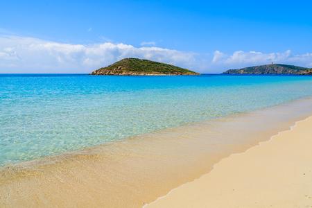 Turquoise sea water of beautiful sandy Teulada beach, Sardinia island, Italy