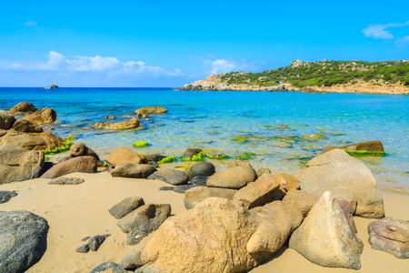 Idyllic beach of Cala Cipolla with turquoise sea water, Sardinia island, Italy Stock Photo