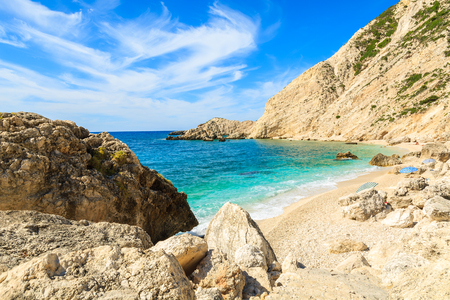 Secluded beach and azure sea water in Petani bay, Kefalonia island, Greece